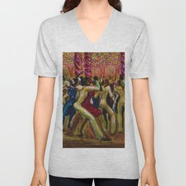 African American Masterpiece 'Shore Leave' by Ellis Wilson Unisex V-Neck