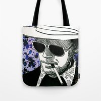hunter s thompson Tote Bags featuring Hunter S. Thompson, Bat Country by Abominable Ink by Fazooli
