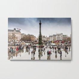 Trafalgar Square, London, at Christmas Metal Print