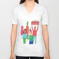 happy birthday V-neck T-shirts featuring Happy Birthday! by Elga Libano