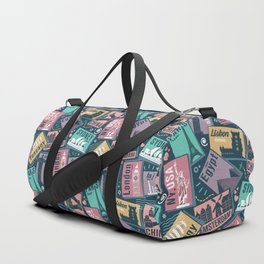 Retro Postcards // blue background Duffle Bag