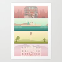 wes anderson Art Prints featuring A Wes Anderson Collection by George Townley