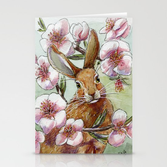 Amandine - Rabbit and flowers Stationery Cards