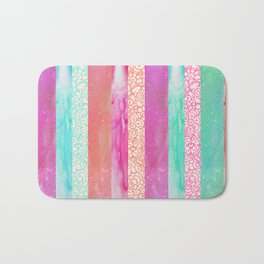 Tropical Stripes - Pink, Aqua And Peach Colorway Bath Mat
