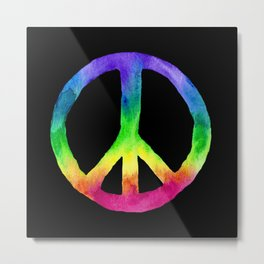 Rainbow Watercolor Peace Sign - Black Background Metal Print