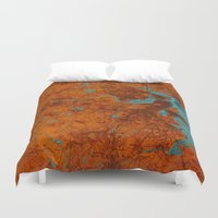 vintage map Duvet Covers featuring Vintage map by Larsson Stevensem