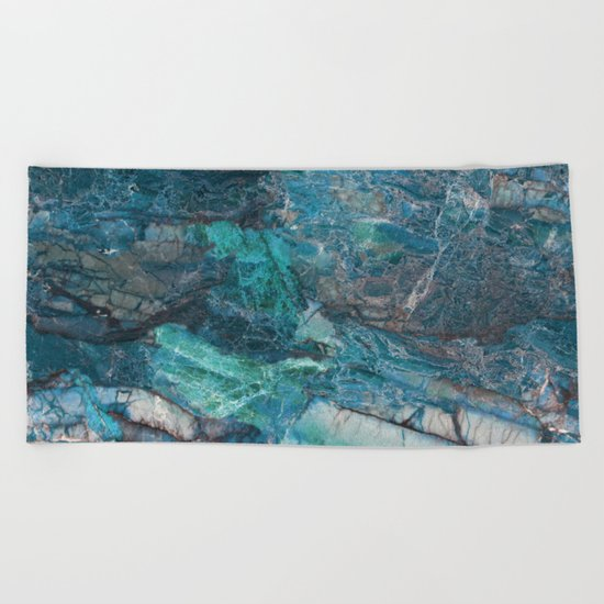 Siena turchese - blue marble Beach Towel