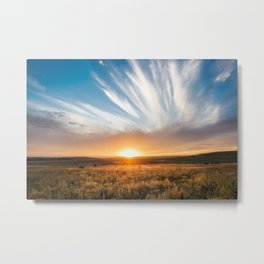 Grand Exit - Golden Sunset on the Oklahoma Prairie Metal Print