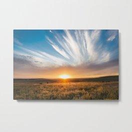 Grand Exit - Golden Sunset on the Oklahoma Prairie Metal Print