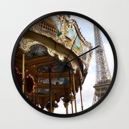 Paris Eiffel Tower Carousel - Paris Eiffel Tower and Carousel - Eiffel Tower Merry Go Round Wall Clock