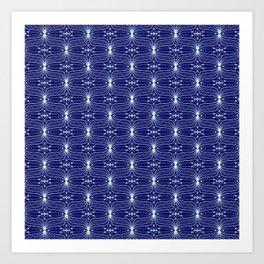 Crystal Starlight Cyan Light Blue Starlight on Midnight Blue Background Luminous Spirit Organic Art Print