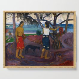 Under the Pandanus II by Paul Gauguin Serving Tray