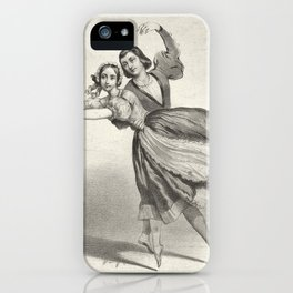 The Dancers, young man and woman, graphite, black white iPhone Case