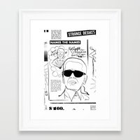 karl lagerfeld Framed Art Prints featuring Karl Lagerfeld by CLSNYC