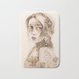 Mermaid Mask, Sepia v2 Bath Mat