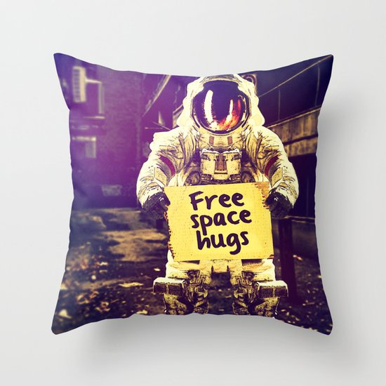 Space hugs Throw Pillow