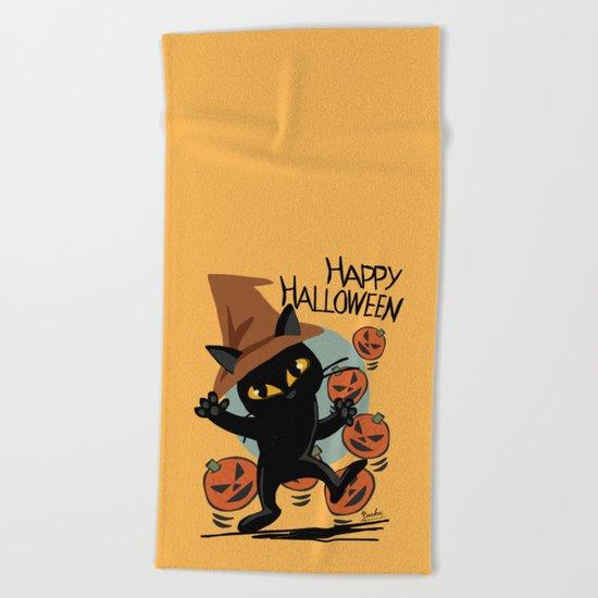 Cat Halloween Beach Towel