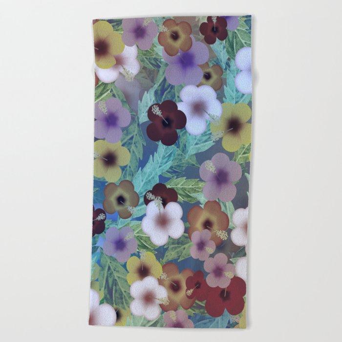 Hibiscus, The Moonlit Garden Beach Towel