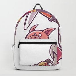 Chef with knife and pig Backpack