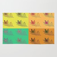 popart Area & Throw Rugs featuring Feathers PopART by UnifiedGlory
