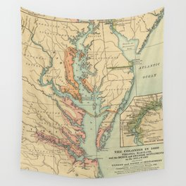 Vintage Virginia and Maryland Colonies Map (1905) Wall Tapestry