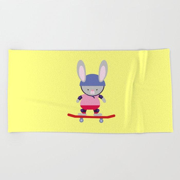Bunny Skater Beach Towel