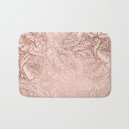 Modern rose gold floral illustration on blush pink Bath Mat