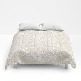 White Lace Mandala on Antique Ivory Linen Background Comforters