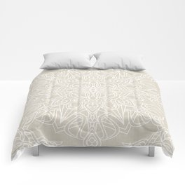 White Lace Mandala on Antique Ivory Linen Background Comforters