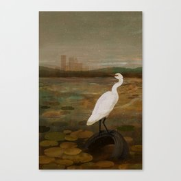 Marshland vs Man Canvas Print
