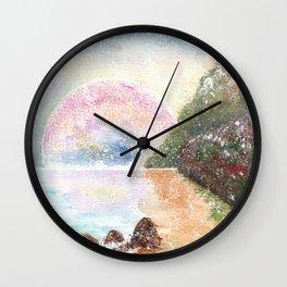 Pink Moon Watercolor Illustration Wall Clock