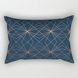 Navy & Copper Geo Lines Rectangular Pillow