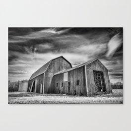 B&W winter barn Canvas Print