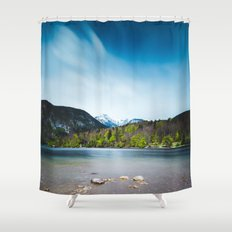 Lake Bohinj with Alps in Slovenia Shower Curtain