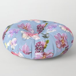 Watercolor Floral Pattern In Lilac And Pink Floor Pillow