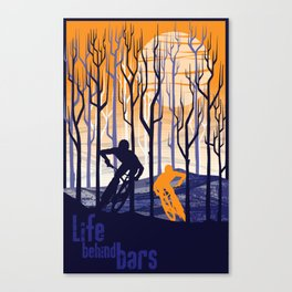 retro mountain bike poster, Life behind bars Canvas Print