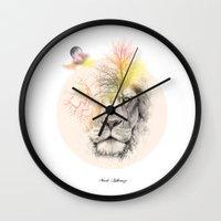 lion Wall Clocks featuring lion  by mark ashkenazi