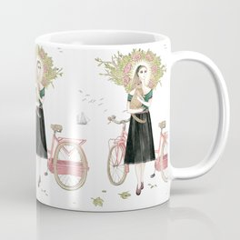 Girl and cat with pink bicycle Coffee Mug