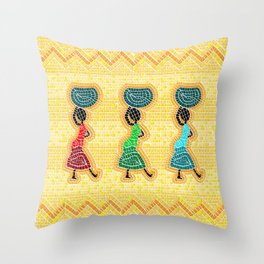 African mosaic Throw Pillow