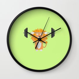 Weight lifting lion T-Shirt for all Ages Dke9a Wall Clock