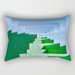 Minimalist  Flat Architectural perspective design - green and blue layers Rectangular Pillow