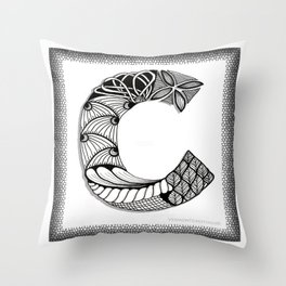 Zentangle C Monogram Alphabet Initials Throw Pillow