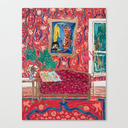 Red Interior with Lion and Tiger after Matisse Canvas Print