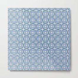 White Blue Marrakesh Tails Decoration Classic Bath Art Tails Talavera Catalina Royal Blue and White Metal Print