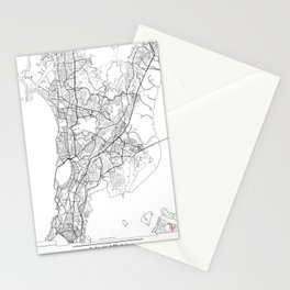 Mumbai Map White Stationery Cards