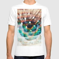 Green Eyes Hypnotize  White SMALL Mens Fitted Tee