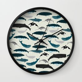 Whales and Porpoises sea life ocean animal nature animals marine biologist Andrea Lauren Wall Clock