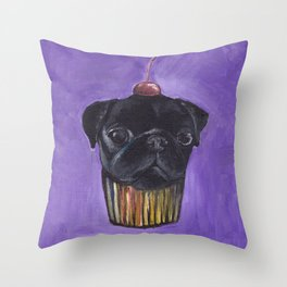 """Cherry on Pup"" Black Pug Cake Throw Pillow"
