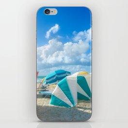 Miami beach cabanas and parasols iPhone Skin