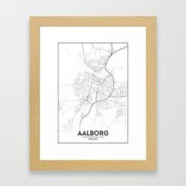 Minimal City Maps - Map Of Aalborg, Denmark. Framed Art Print
